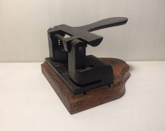 Antique Paper Punch - Vintage Wood and Metal Hole Punch - Office Decor - Old Stationary