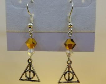 Crystal Deathly Hallows Earrings