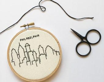 Philadelphia Skyline Cross Stitch - Hoop Art - Gifts for Him