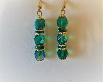 Teal Green Crystal And Rhinestone Beaded Pierced Earrings