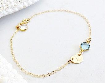 14k gold filled heart birthstone bracelet,personalized anklet,little girls bracelet,baptism,heart tag with initial,2 swarovski birthstones
