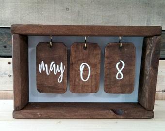 Rustic Wooden Calendar Box   Shadow Box Calendar   Perpetual Calendar   Wood Tags   Desk Calendar