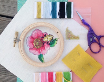 Hattie the June Beetle Embroidery Kit - embroidery art, embroidery kit, modern embroidery, DIY kit, hand embroidery kit, embroidery pattern