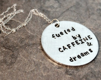Fueled by Caffeine and Dreams Necklace, Motivational Fitspo Jewelry Coffee Preworkout for Girls Who Lift, Inspire Quote Fitness Gym Workout