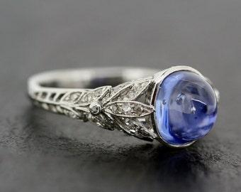 Art Deco Sapphire Ring - Antique 1920s Engagement Ring Sapphire & Diamond Art Deco in Platinum