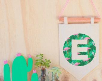 Flamingo initials letter E pennant flag copper wall hanging custom kids room decor