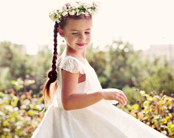 SALE/// Flower Girl White Lace heart cut out  Dress for girls