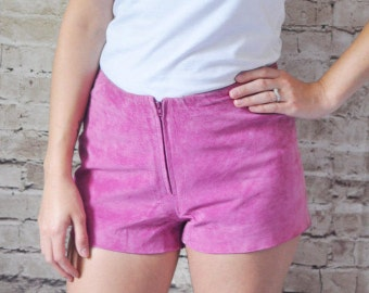 1990s Vintage Pink Suede Hotpants with Zip Up Front.