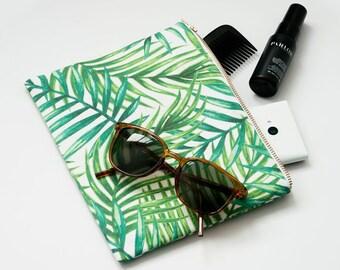 Pochette zippée en coton biologique - Rameaux et palmiers verts