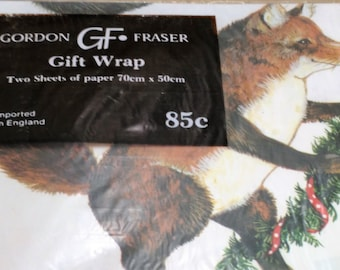 "Imported From England Animal Holiday Paper by Gordon Fraser/2 Sheets 70cm by 50cm (27"" by 20"")/New (C)"