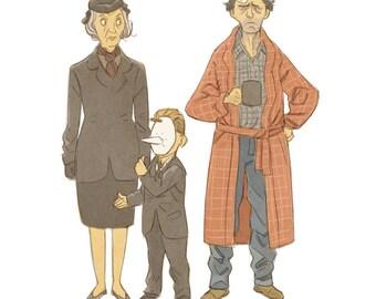 Twin Peaks trio sketch print - Fat Trout Trailer Park