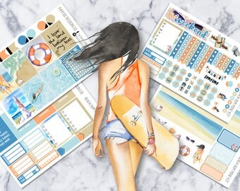 MINI Weekly Kit / Beach Bum / Planner Stickers /  Fits Erin Condren Vertical & MAMBI / Watercolor / Hand Drawn