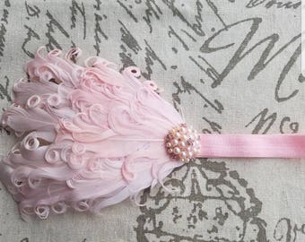 Baby Pink Rhinestone & Pearl Feather Headband Wedding/Pageant/Photo Prop