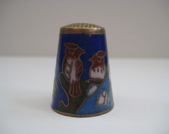 Vintage thimble, enamel on brass thimble, bird and flower decor