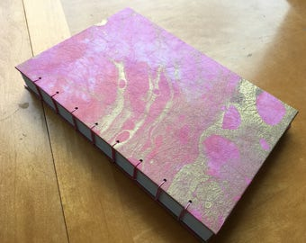 Gorgeous Pink and Gold Marbled Sketchbook // Handmade Hardcover Journal // Coptic Stitch Notebook // Fancy and Elegant // Gifts Under 20