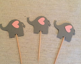 12 elephants cupcake toppers. Baby shower, birthday, reveal party decorations.