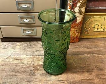 Vintage Vase Green Crinkle Glass
