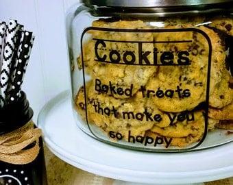 Cookie Jar / Kid Kanister Cookie Jar / Glass Cookie Jar / Hermetic Seal Cookie Jar / Air Tight Cookie Jar / Kitchen Organization / Baking