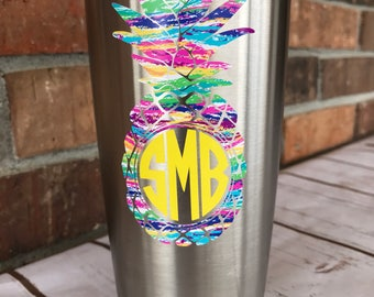 Pineapple Decal - yeti decal for women - ozark tumbler decals - rtic decal for girl - corkcicle decal - lilly decal