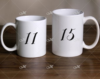 11 and 15 oz Mugs stock photo, Mockup. JPG only.