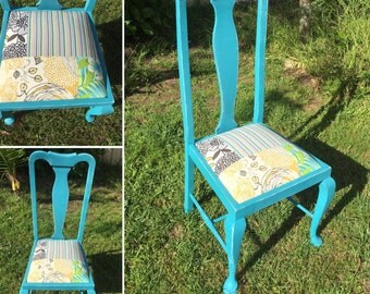 Teal accent chair, high back antique chair