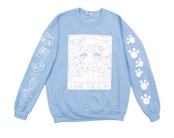 I want to be a cat blue sweater
