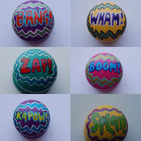 Comic Book Word Art Themed Drawer Knob/ Cupboard Handle Hand Painted 3 Sizes Available 30mm, 40mm, 53mm 6 Designs, Bang, Wham, Kerpow