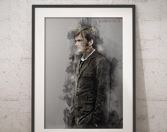 David Tennant Doctor who print wall art home decor