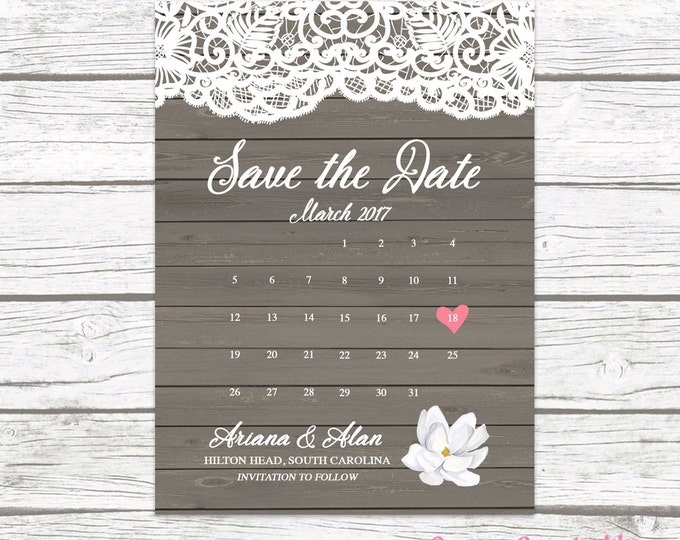 Rustic Wedding Save the Date Card, Destination Wedding Printable Save the Date, Boho Beach Wedding Save the Date, Printed
