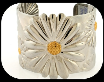 "New Statement Stainless Steel 2 Tone Embossed Daisy Design Cuff 2"" Wide BRACELET"