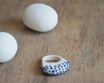 Jewelry, Porcelain jewelry,porcelain ring, Sea collection,Summer ring, White and blue ring, Ceramique bague, Bague en porcelaine blanche