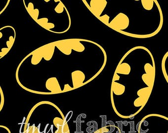 Woven Fabric - Black Batman Tossed Emblems - Fat Quarter Yard +