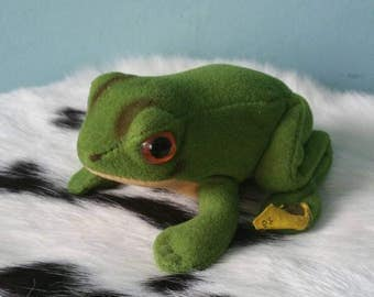 STEIFF frog! Vintage collectible plush frog 1970s 1980s Froggy 2370/08