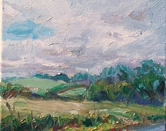 Original Oil Painting, Irish Landscape, Fields by the roadside, Impressionist loose style, Square 20x20cm