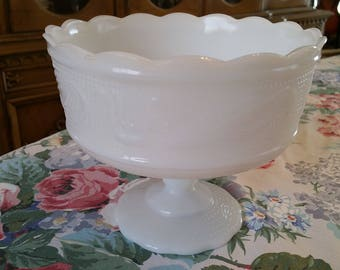 Vintage Milk Glass Pedestal Planter, Fruit Bowl, Milk Glass, Pedestal Bowl, Planters, Milk Glass Planters, E O Brody Co., Cleveland, Ohio,
