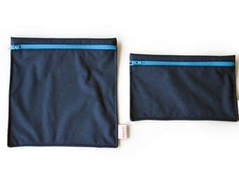 Sacs à sandwich et collation réutilisables Marine - Reusable bags - 1 snack bag 1 sandwich bag - navy