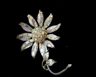 Vintage Silver Tone  Aurora Borealis  Rhinestone Flower Brooch Pin