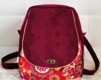Sac à Dos en suédine prune et coton motifs floraux colorés!