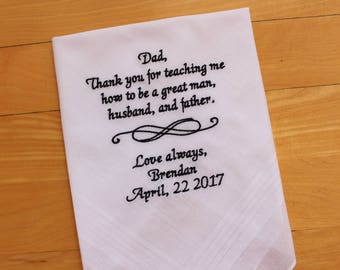 Father of the Groom Hankerchief-From Groom to His Father- Wedding Handkerchief-Embroidered-CUSTOMIZED-Wedding hankies-Father Gift-MS1F23