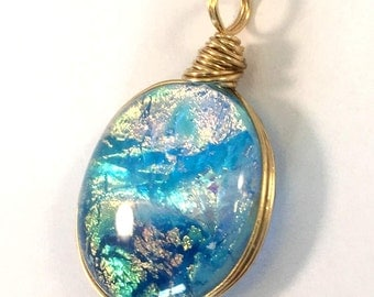 Sparkling - Glass Pendant - Gold-Blue diochroic mix - in Gold Wire wrap