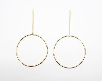 P0503/anti-Tarnished Gold Plating Over Brass/Large Circle Bar Pendant/40x73mm/2pcs