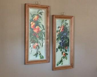 Large Vintage Wall Art Set /Vintage Wall Art / Flower Wall Art / Gold Wall Art Set / Wall Art Vintage / Fruit Wall Art / Kitchen Wall Art