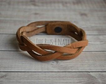 FREE SHIPPING - Camel Braided Leather Bracelet