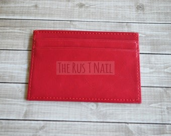 FREE SHIPPING - Slim Credit Card Wallet - Red - Genuine Leather