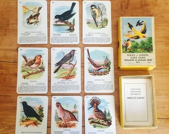 Vintage Childrens Playing Cards Birds Of Europe