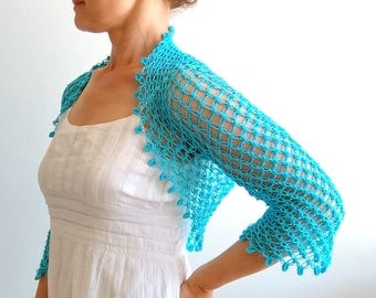Aqua blue bolero, turquoise shrug, wedding bolero, aqua blue shrug, crochet bolero, 3/4 sleeves bolero, gift for her, fast shipping