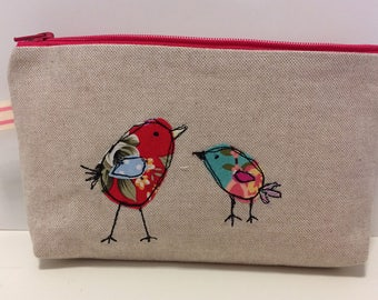 Birds makeup bag/birds wash bag/kids wash bag/linen pouch/ bird bag/makeup bag/pencil case/flower cosmetic bag/zip bag