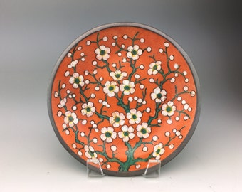 Vintage Circa 1950s Exclusive Neiman Marcus Pewter-Clad Asian Cherry Blossom Plate