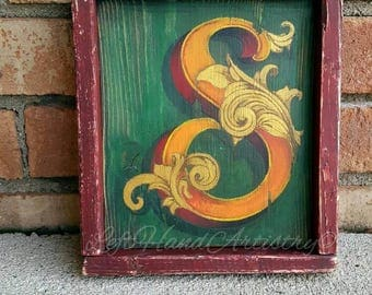 Antique Wood Letter S sign. Free-handed. Vintage signs. Victorian. Monogram. Last name. Family name. Initial