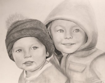 "Custom 16x20"" sketch of two kids or babies"